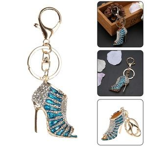 Accessories - Blue & Gold Crystal High Heel Shoe Gold Keychain